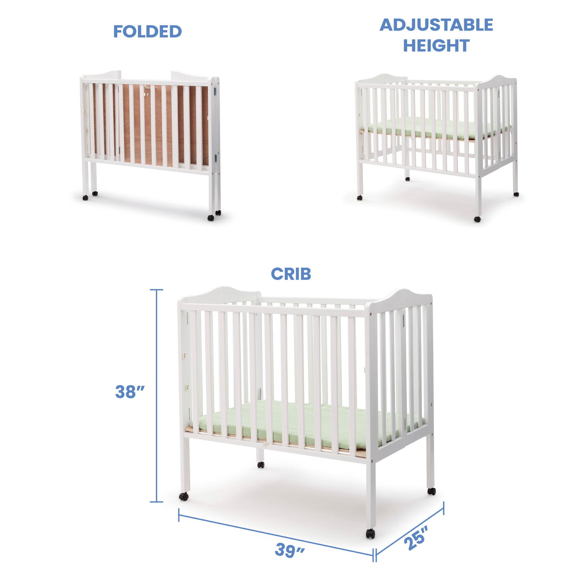 Delta Children Folding Portable Mini Crib With 1 5 Inch Mattress White Walmart Com Walmart Com