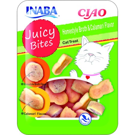 Juicy Coat - Inaba Ciao Juicy Bites Homestyle and Calamari Flavor Cat Treats, 3 packs