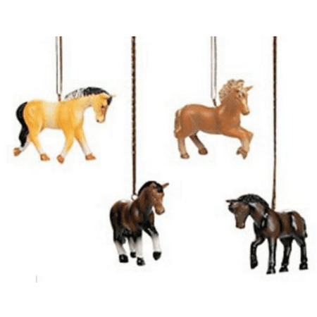 Horse Ornaments, Set of 4 Resin Horse Ornaments for Your Christmas Tree, Western Decor