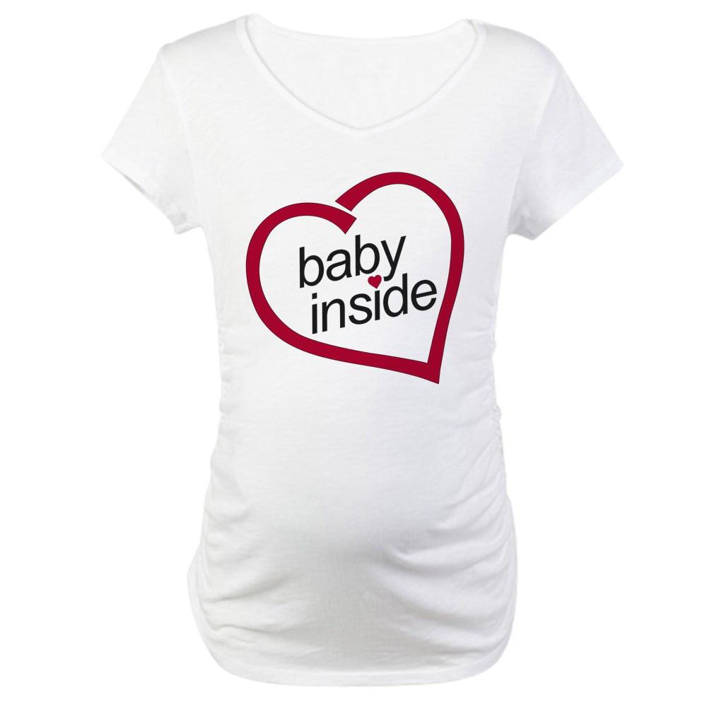 e02e1d505edb5 CafePress - Baby Inside Valentine's Maternity T Shirt - Cotton Maternity T- shirt, Cute & Funny Pregnancy Tee