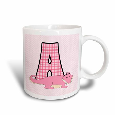 3dRose A is for Alligator in Pink for Girls Baby and Kids Monogram A in Gingham Prints, Ceramic Mug, - Kids Ceramic
