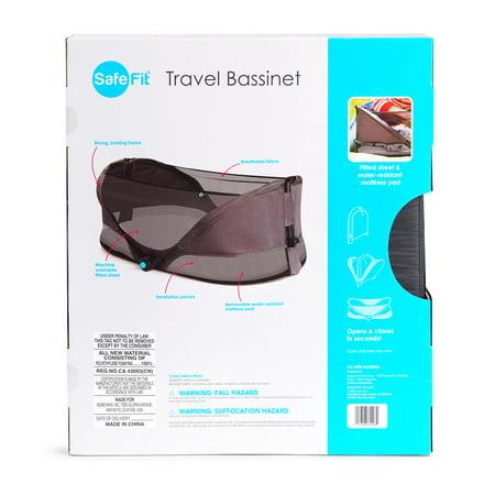 SafeFit Fold n' Go Travel Bassinet, Gray