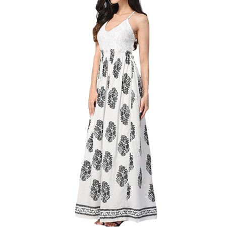 29b7358a815ad Celmia - Women's V Neck Spaghetti Straps Lace Crochet High Waist Long Maxi  Dress - Walmart.com