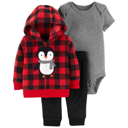 Hooded Cardigan, Short Sleeve Bodysuit & Pants, 3-Piece Outfit Set (Baby Boys) - Toddler Boy Valentine Outfit