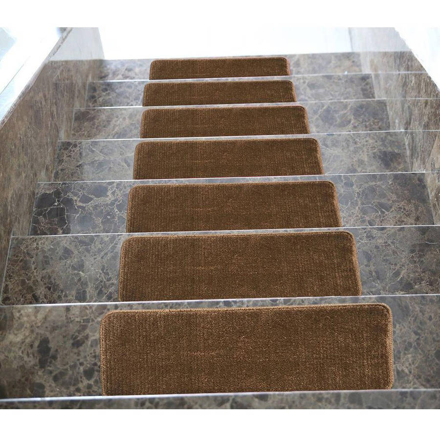 """Ottomanson Softy Stair Treads Solid Skid Resistant Rubber Backing Non Slip Carpet Stair Tread Mats, 9"""" x 26"""""""