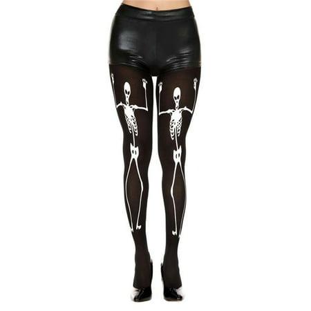 Music Legs 37257-BLACK-WHITE Dancing Skeleton Print Pantyhose, Black & White](Skeleton Pantyhose)