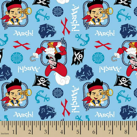 Jake And The Neverland Pirates Fabric (Disney Jake, Treasure Quest, Flannel, Blue, 42/43