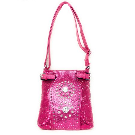 Rhinestone Twin Concho Stud Messenger Handbag w/Adjustable Strap In Multi Colors