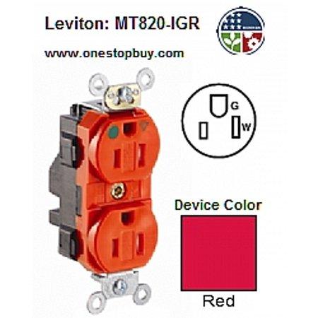 Leviton MT820-IGR 5-15R 2P3W Lev-Lok Duplex Receptacle Tamper-Resistant  Isolated Grade Hospital - Red