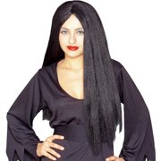 "26"" Long Parted Black Costume Wig"