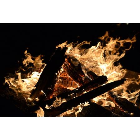 Canvas Print Orange Fire Blaze Burn Bright Fireplace Logs Stretched Canvas 10 x 14