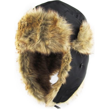 Solid Black Aviator Trapper Hat Winter Ski Cap Faux Fur