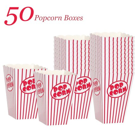 Popcorn Boxes - Striped White and Red Popcorn Boxes Tubs - (50 Count) - Large Popcorn Boxes