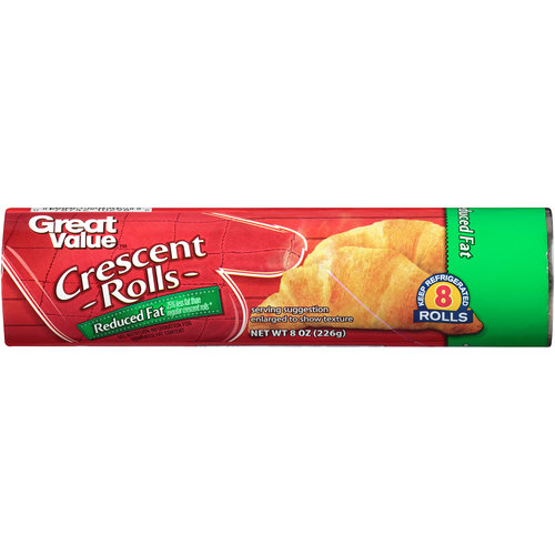 Great Value Reduced Fat Crescent Rolls, 8 ct, 8 oz