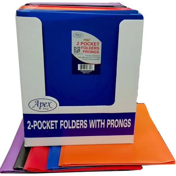 Premium Plastic Two Pocket 3 Prong Folders Case Pack 48 ...