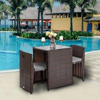 Zimtown 3 PCS Cushioned Outdoor Wicker Patio Set Convention Bistro Set Garden Lawn Sofa Furniture Brown