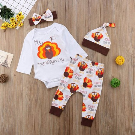 Turkey Outfit (4PCS Newborn Baby Thanksgiving Turkey Print Romper Bodysuit Jumpsuit +Long Pants+Headband Hat Outfits Clothes)