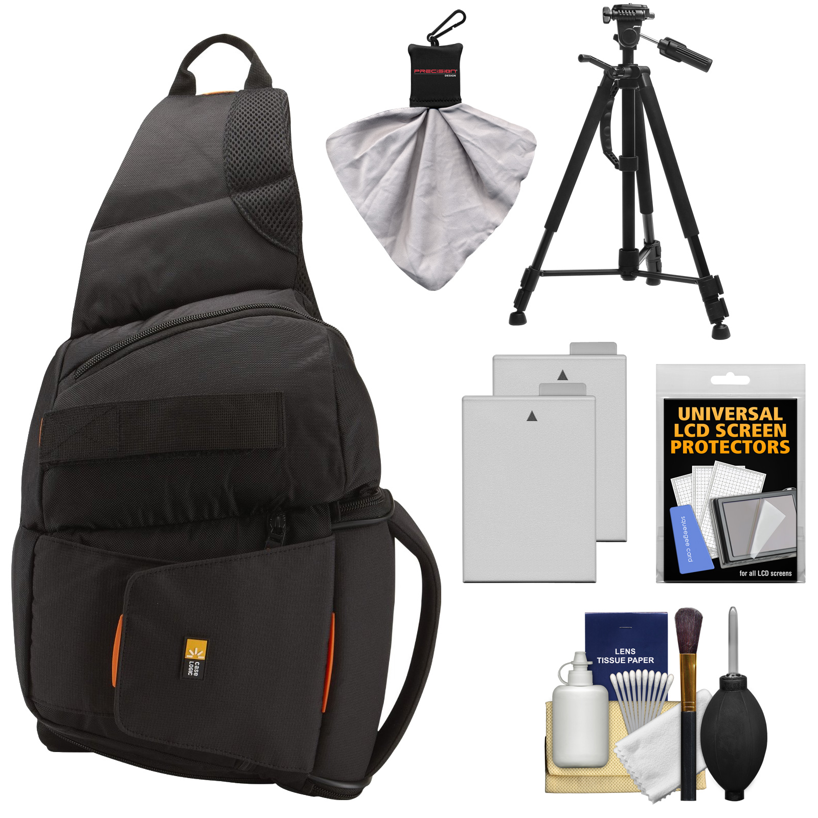Case Logic Digital SLR Sling Camera Bag/Case (Black) (SLRC-205) + (2) LP-E8 Batteries + Tripod + Accessory Kit for Canon EOS Rebel T2i, T3i & T4i