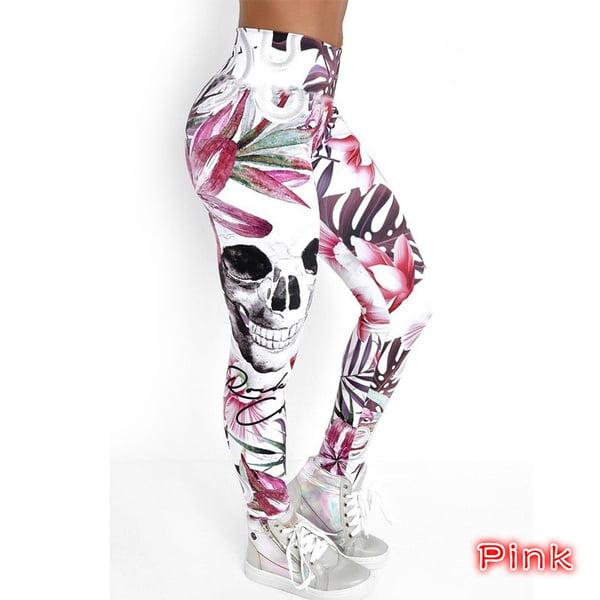 Women/'s Skull /& Flowers Pink Leggings