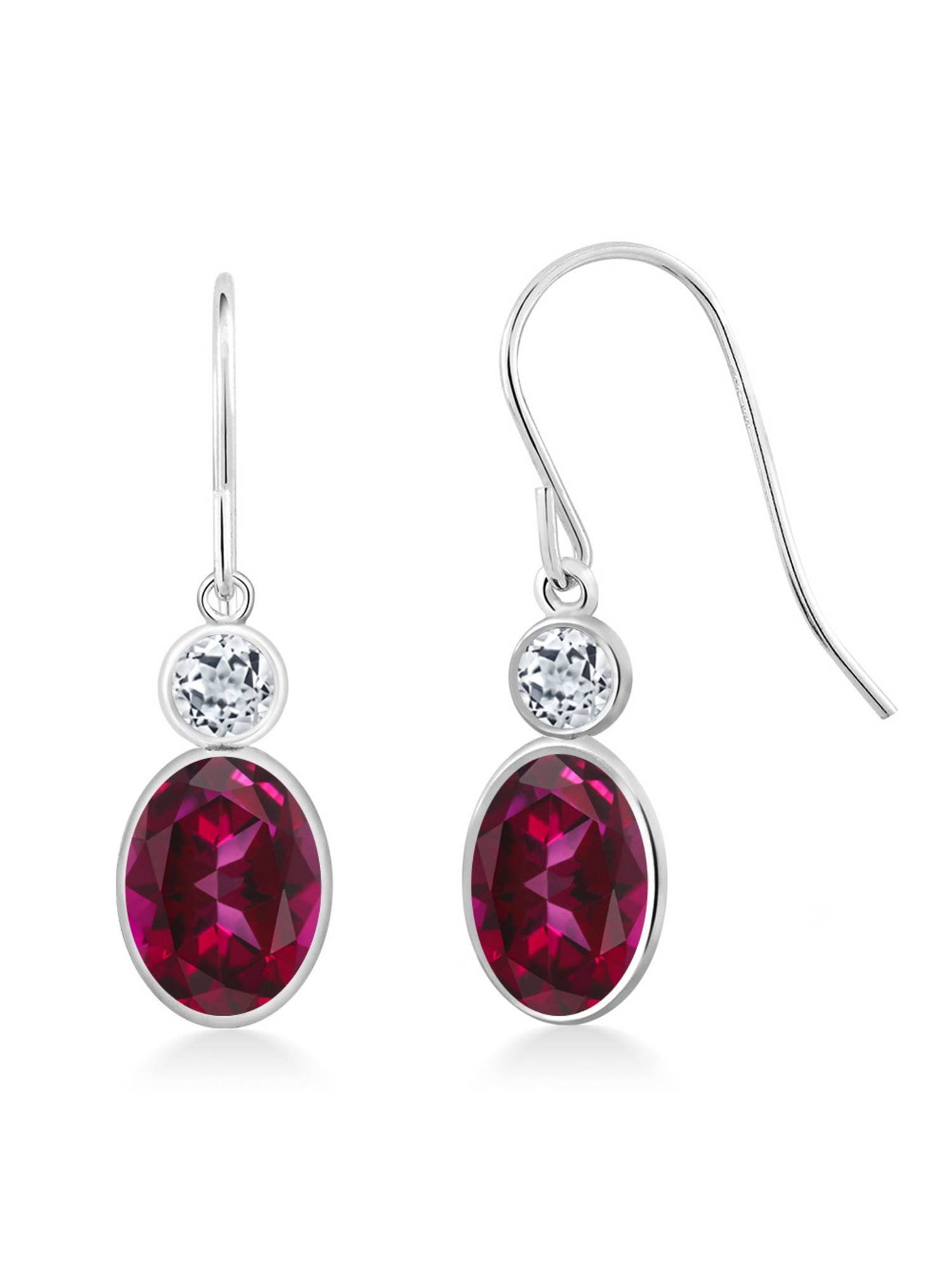 14K White Gold Earrings Topaz Set with Oval Blazing Red Topaz from Swarovski by