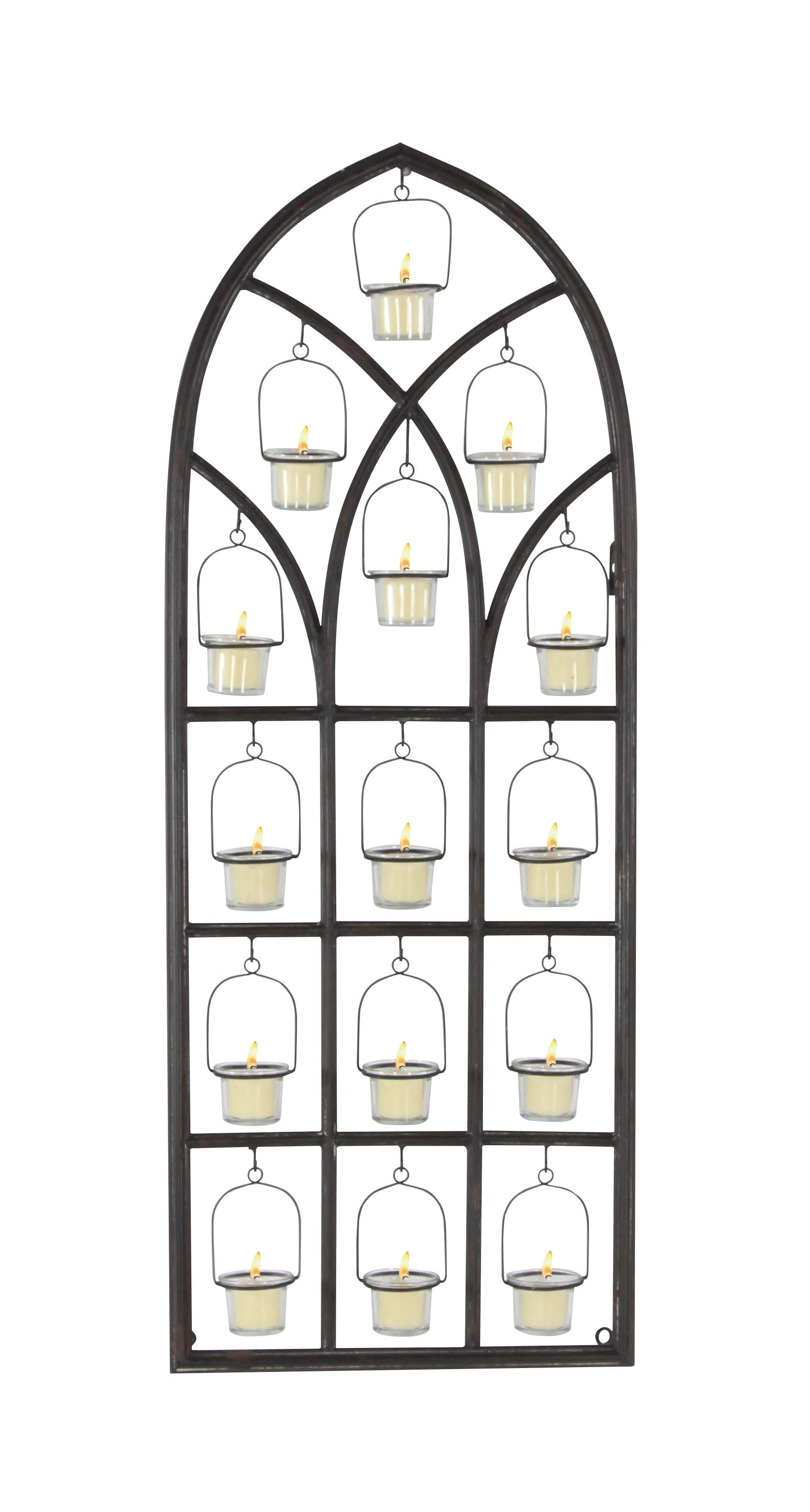 Decmode Traditional 39 X 16 Inch Iron and Glass Window Votive Candle Holder, Black by DecMode