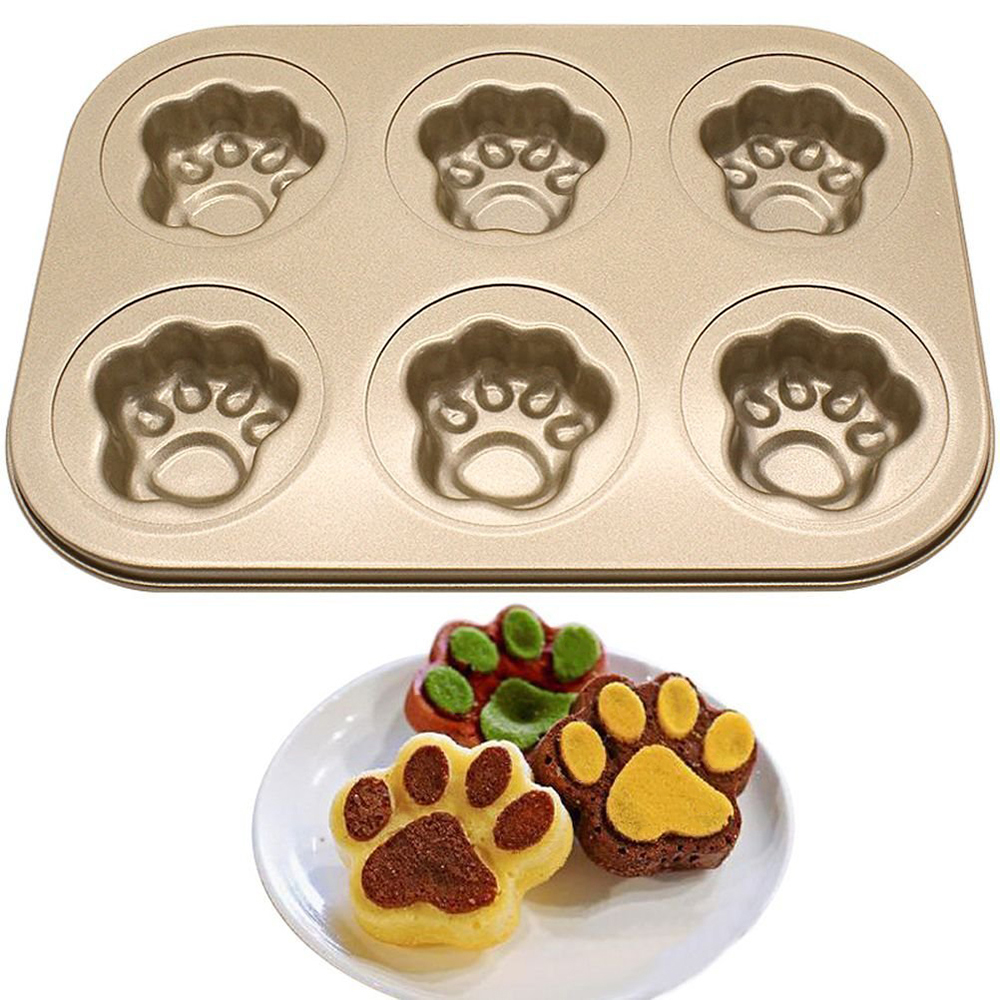 Six-Grid Hollow Cat claws shape Baking Pan DIY Tool Carbon Steel Nonstick Cake Baking Mold Donuts Shape Kitchen Supplies Baking Tray for Muffin Cups Cake Biscuit Cookie Candy