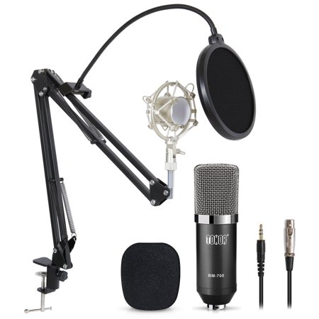 TONOR BM-700 Condenser Microphone Pro Studio Broadcasting Recording With Adjustable Arm Stand & Shock Mount & Pop