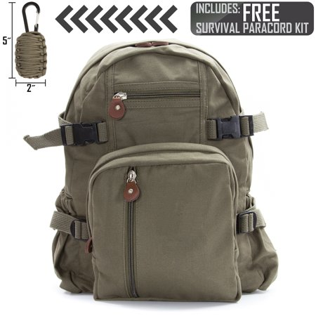 Heavyweight Canvas Backpack Bag Small with FREE Paracord Survival