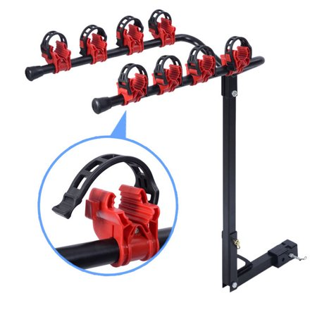 Zimtown Vertical Bike Rack Carrier, 4-Bike Hitch Mount Rack with 2-Inch Receiver for Car Auto Suv, 66 LB Load