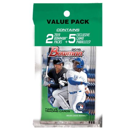 2019 Topps Bowman Baseball Value Pack- 5 Exclusive Parallel Cards | 2 2019 Bowman Packs- MLB Licensed Trading Cards