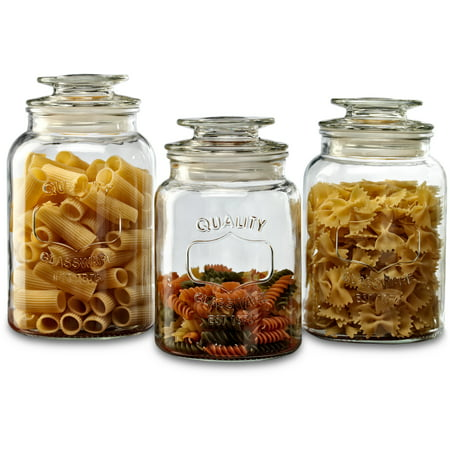 Glass Storage Canister - Set of 3 Yorkshire Circleware Canisters with Glass Lid, 36 oz, 43 oz, 54 oz