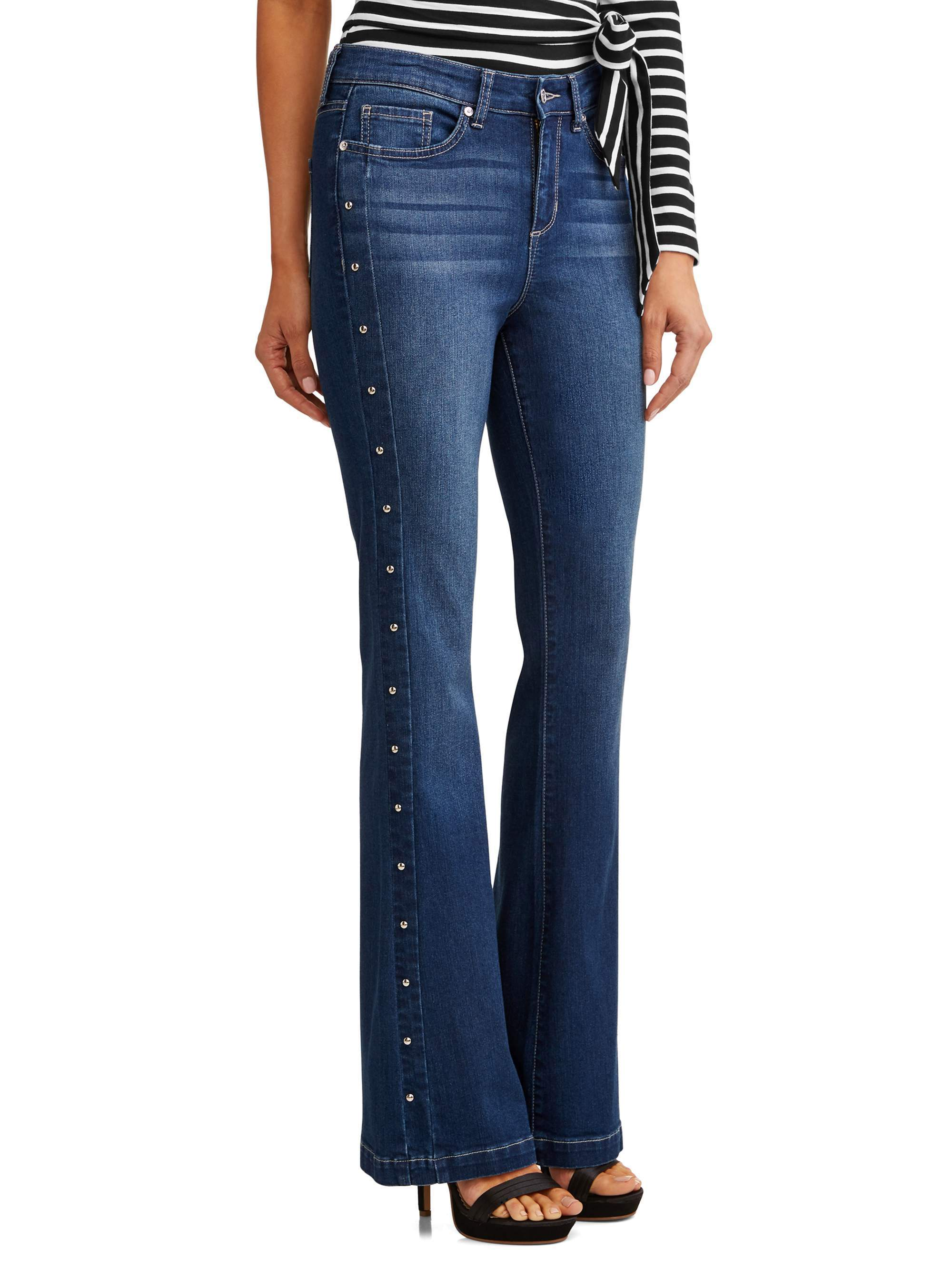 Gloria Studded Sides High Waist Stretch Flare Jean Women's (Medium Indigo Wash)