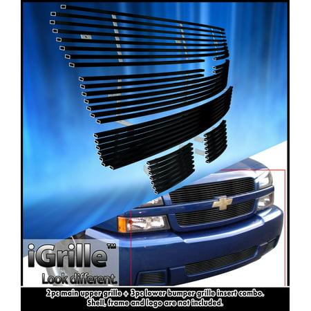 Fits 03-05 Chevy Silverado 1500 SS Stainless Steel Black Billet Grille Combo Chevrolet Silverado Stainless Steel Billet