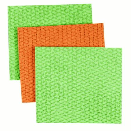 Casabella Large Cellulose Sponge Cloths, Assorted Colors, 3 ct