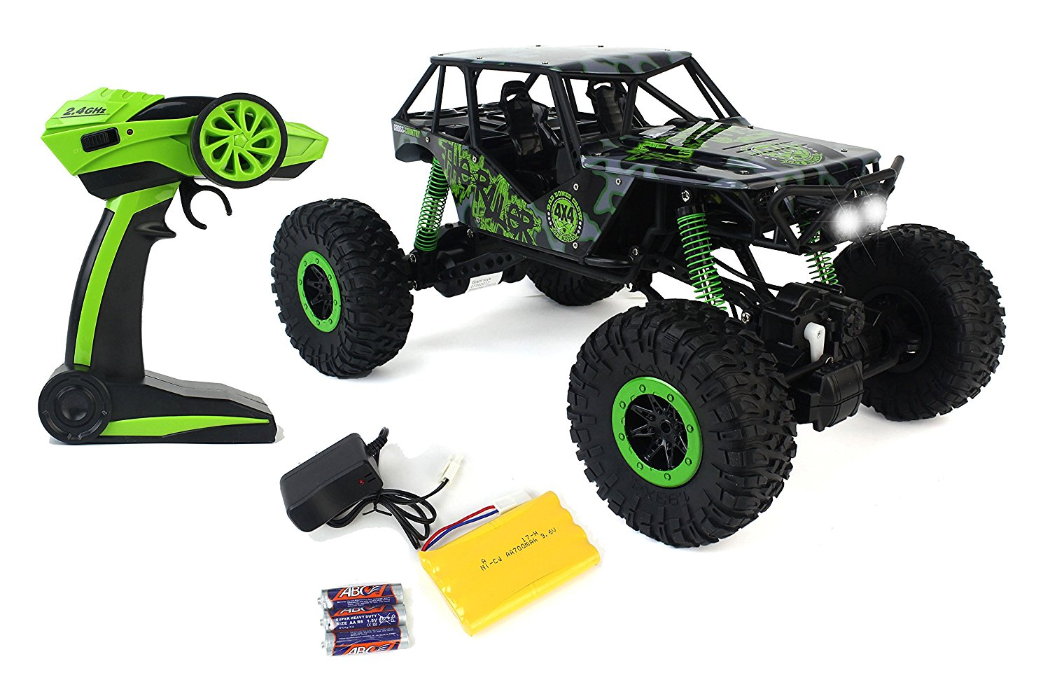 Remote Control Crazy SUV Rock Crawler 4WD Green Toy Car Rally RC 2.4 GHz 1:10 Scale Size w  Working... by Velocity Toys