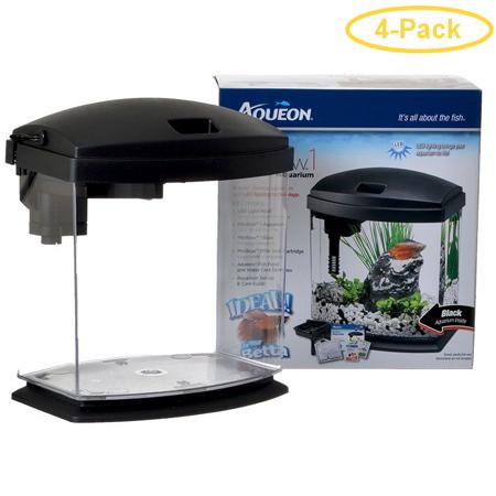 Aqueon LED Mini Bow Desktop Aquarium Kit - Black 1 Gallon - (7.8L x 6W x 7H) - Pack of 4