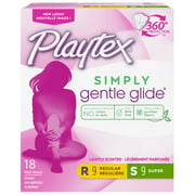 Playtex Simply Gentle Glide Tampons, Scented, Regular/Super, 18 Ct