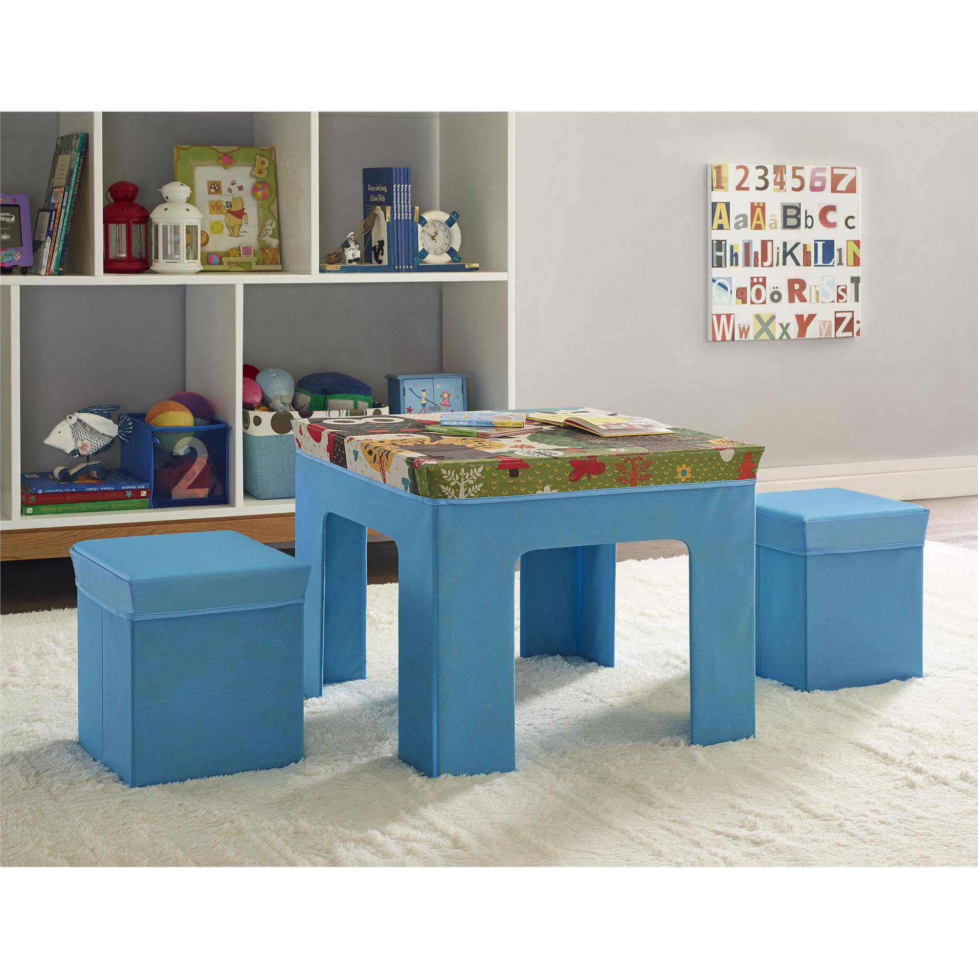 altra kids fabric table and ottoman set with owl pattern blue walmartcom - Kid Table And Chair Set