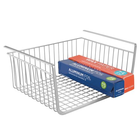Mdesign Under Shelf Hanging Wire Storage Basket For Kitchen Pantry Silver