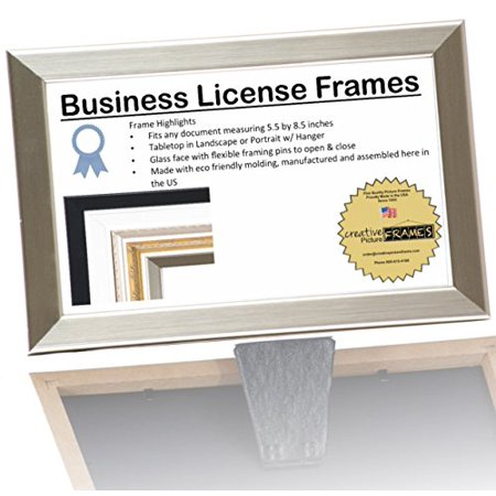 - 8.5x5.5 or 5.5x8.5 inch Professional Stainless Steel Business License Certificate Frame, Self Standing Portrait or Landscape with Wall Hanger