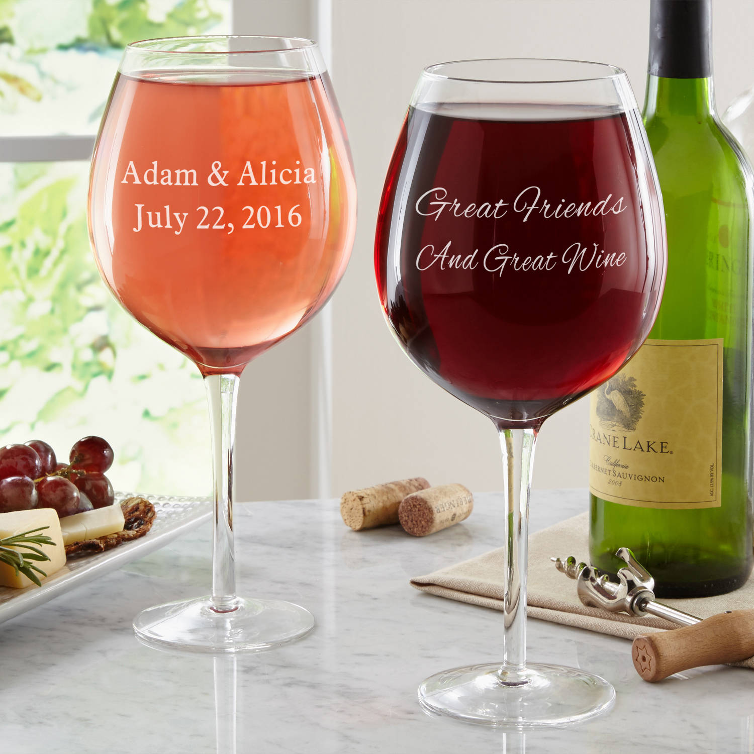 Personalized Create Your Own XL Wine Glass, Message, Choose Script or Block