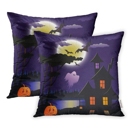 CMFUN Blue Autumn Halloween Night Orange Bat Carving Celebration Cemetery Event Pillowcase Cushion Cases 18x18 inch Set of 2 - Cemetery Halloween Events