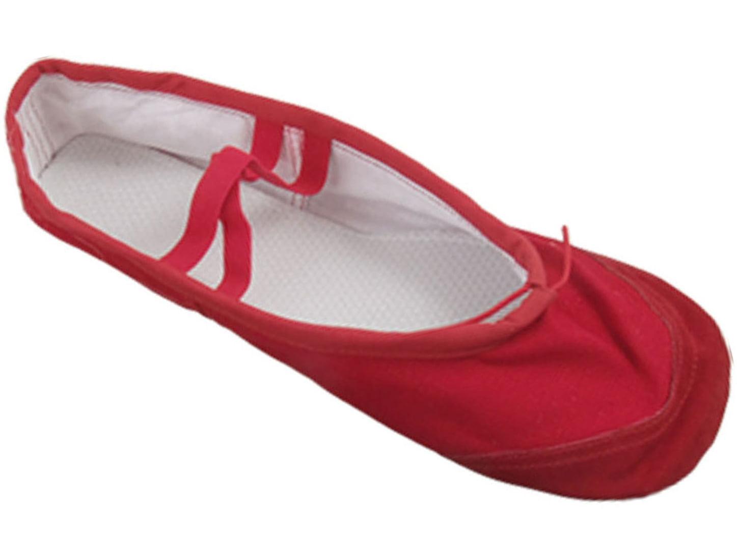 5cf5788b9a Unique Bargains US Size 8.5 Ladies Red Canvas Flat Ballet Dancing ...