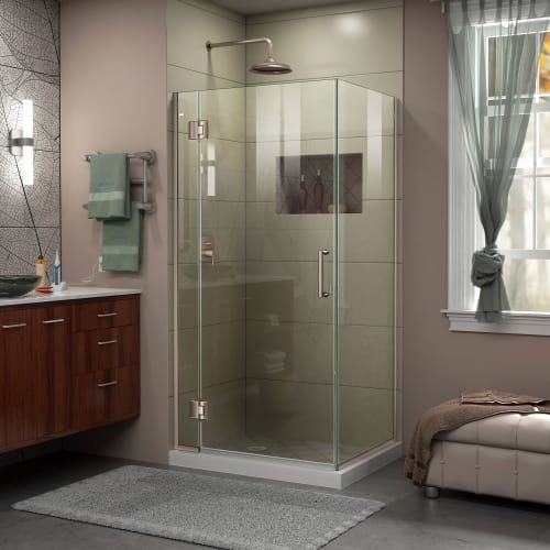 "DreamLine E12430 Unidoor-X 72"" High x 30-3/8"" Wide x 30"" Deep Hinged Frameless S"