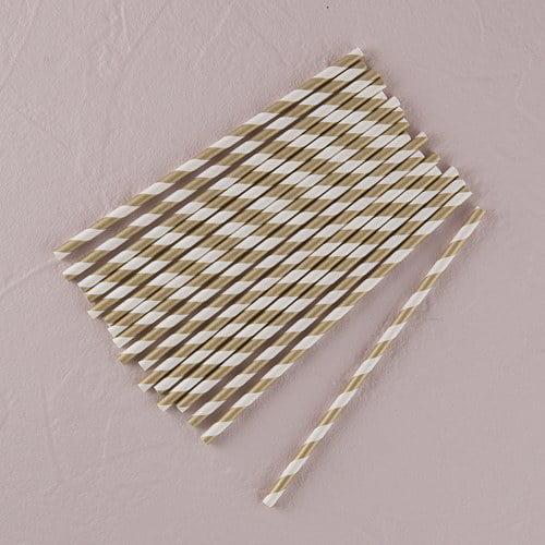 Metallic Silver Striped Paper Straws