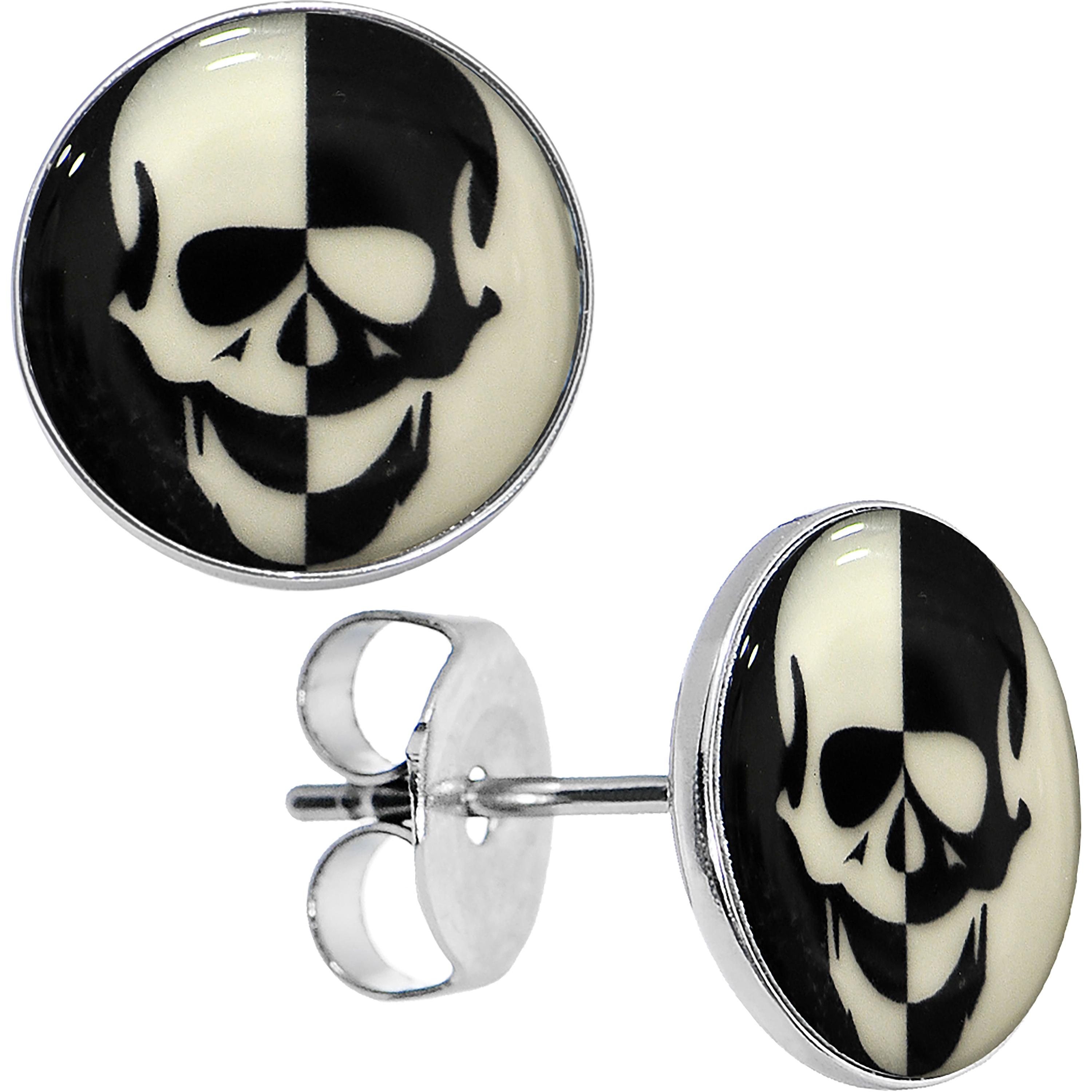 Body Candy Stainless Steel Glow in the Dark Inverted Skull Stud Earrings