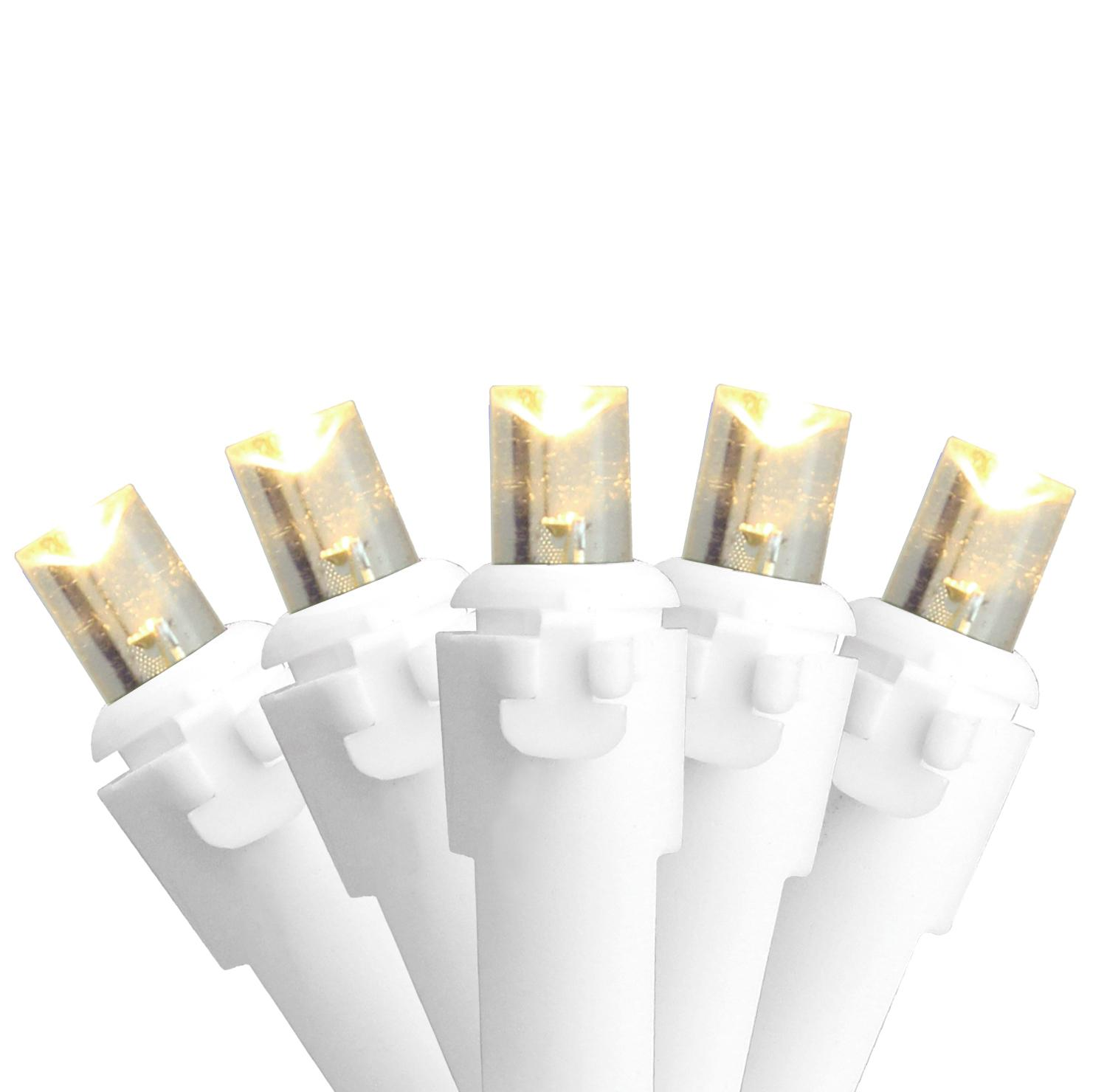 Set of 100 Warm White LED Wide Angle Christmas Lights - White Wire