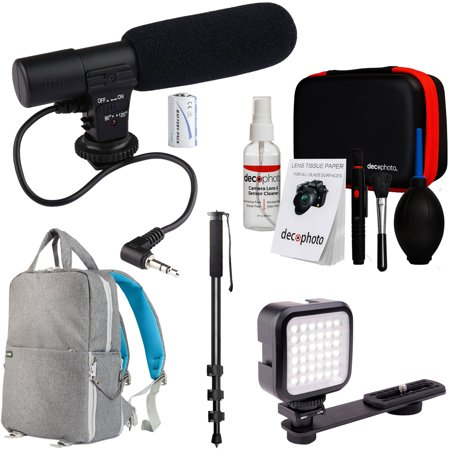 Deco Gear Mobile Pro Photographer Video Recording Bundle for DSLR & Mirrorless Cameras - Shotgun Mic, LED Constant Lighting, Monopod, Backpack and More
