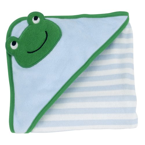 Child of Mine Frog Green and Blue Stripe Newborn Hooded Towel, Boy