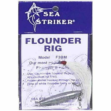 Sea Striker F3BM Flounder/Fluke Rig No Float, White Tail Hook 30 Lb Mono